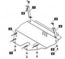 Защита {картера и КПП} SKODA Roomster (Praktik) (2002 - 2007) 1,2; 1,4 ; сталь 2 мм, Гибка, 10,3кг.,
