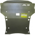 Защита (радиатор, двигатель, КПП, РК) BMW X3 (F-25) 2010>; V=3,0TD; 2,8i, алюминий 5 мм, [4WD АКПП