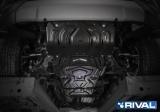 Комплект защит радиатор + картер + КПП + РК + комплект крепежа, RIVAL, Сталь, Mitsubishi L200 2015-, V - 2.4d; 2.4d H.P./Mitsubishi Pajero Sport 2016-, V - 3.0; 2.4d./Fiat Fullback 2016-, V - 2.4d